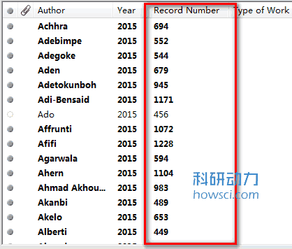 EndNote数据库的文献编号