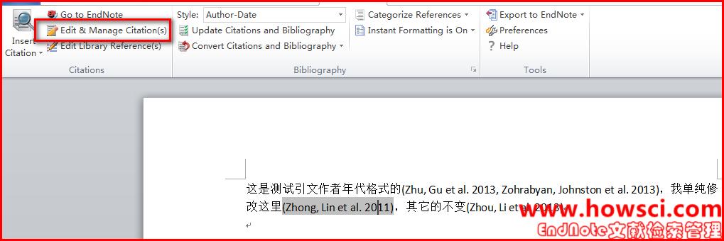 EndNote仅修改一处引文格式为作者(年代)即Author(Date)的方法