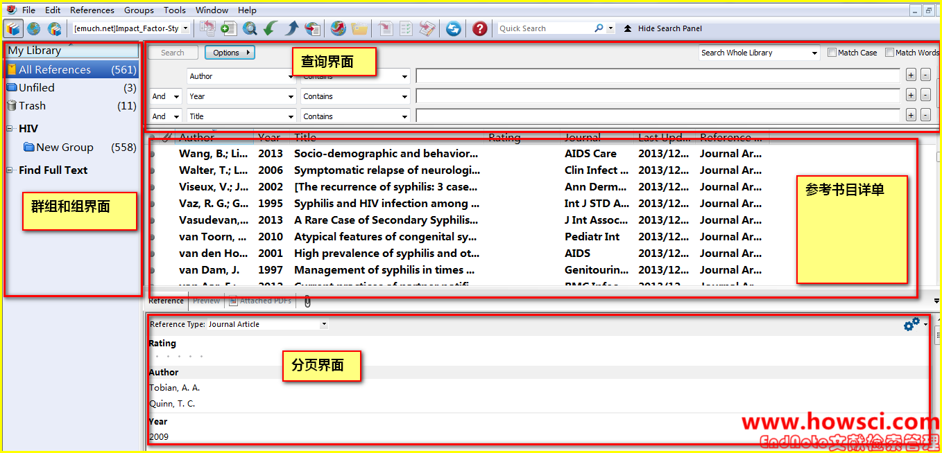 EndNote Library界面Layout图文详解