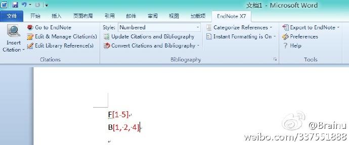EndNote修改引文格式连续性编号为括号